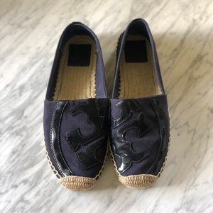Tory Burch Canvas and Patent Espadrille